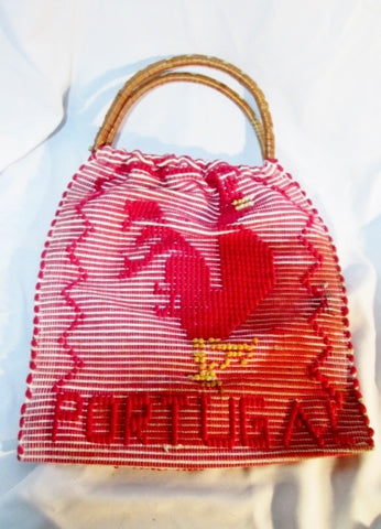 Handmade PORTUGAL ROOSTER CHICKEN Loop Hoop Handle Vegan Bag RED Tote
