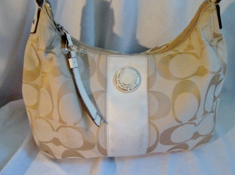 COACH F19281 SIGNATURE STRIPE Jacquard Canvas SHOULDER BAG HOBO WHITE CREME