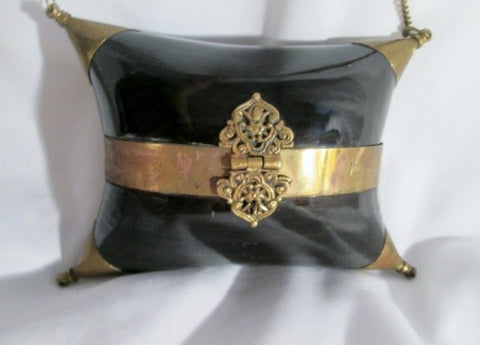 Handmade Shoulder Bag Satchel Ethnic Box Purse BROWN Brass Lacquer Shell Mini