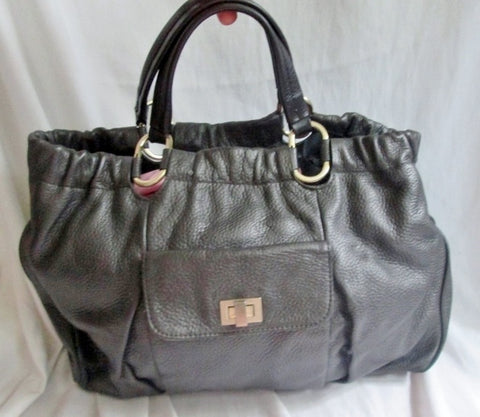 HALOGEN pebbled leather hobo satchel clutch tote bag PEWTER GRAY CHARCOAL purse Celebrity Style