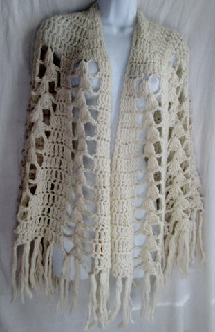 Womens HAND CROCHETTED IMPORT Fringe Crochet Knit SCARF Shawl Wrap PONCHO WHITE Boho