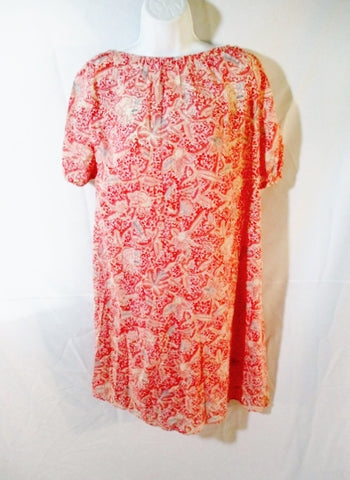 WOMENS TORY BURCH 2 in 1 Cotton Floral Shift Dress 8 CORAL PEACH PINK