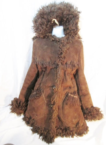 Womens REVERSIBLE Suede Persian Lamb Fur COAT Jacket S BROWN Leather Boho Hipster Hood