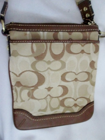 COACH 10362 Jacquard Shoulder Bag Crossbody Swingpack Purse BROWN Pouch