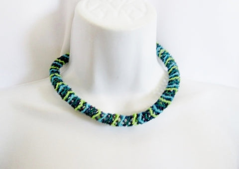 NEW  JABULANI KWAL-ZULU Natal Bead ROPE Necklace Tribal Ethnic Choker GREEN BLUE
