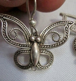 BJ 925 STERLING SILVER BUTTERFLY MOTH INSECT Earring Set Pierce Dangle Filigree