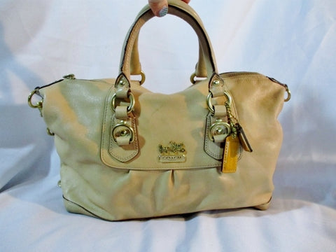 COACH 12937 SABRINA PUTTY Satchel Leather Tote Bag Purse BEIGE Crossbody