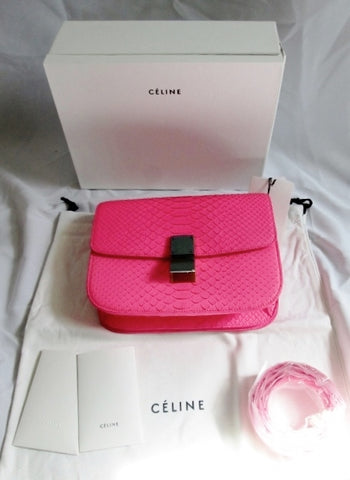 NEW CELINE MEDIUM FLAPBAG LIEGE CALFSKIN SNAKE FLUO PINK Bag Purse