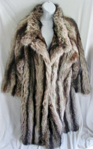 Vtg Womens MULLER FURRIER NEW YORK COYOTE Fur Long Maxi Coat Jacket L BROWN