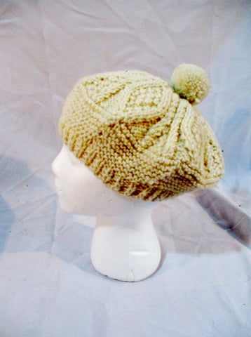 JOHN MOLLOY Hand Knit Wool CAP HAT BEANIE IRELAND CREME WHITE DONEGAL