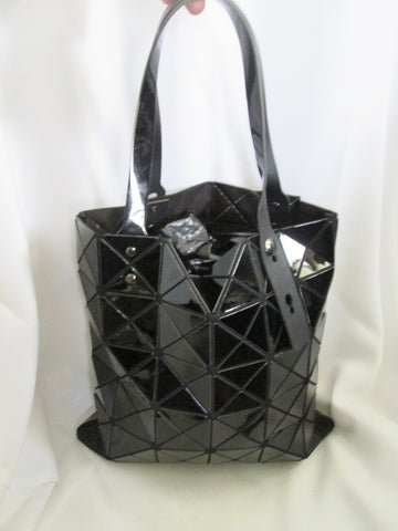 Funky TOTE Vegan Geometric Shoulder BLACK Carryall Pyramid Industrial Shopper Mod