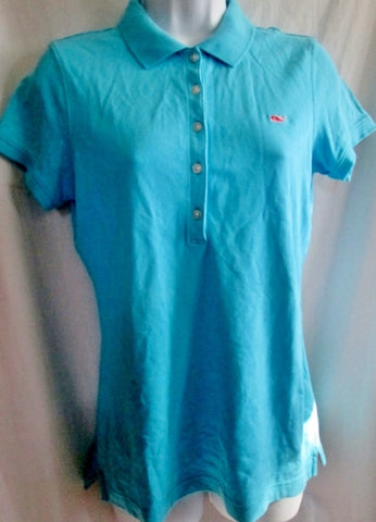 Womens VINEYARD VINES POLO Shirt S AQUA BLUE Whale Preppie Club