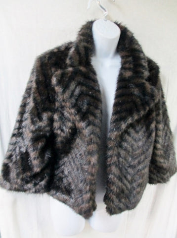 Womens FUSION DENIM Faux FUR jacket coat Bolero L BROWN BLACK STRIPE
