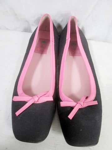 Womens LILLY PULITZER Slip On SHOE Flat Bow 9 NAVY BLUE PINK Preppie