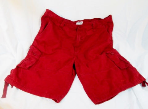 Mens HALIFAX DENIM GROUP Pockets Denim Shorts 44 BURGUNDY RED MAROON