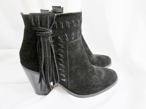 Womens JESSICA SIMPSON CHASSIE Suede Fringe Ankle Boots Booties BLACK 9 Leather Hippie Boho