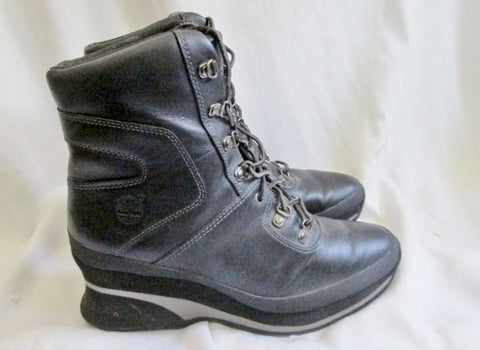 Womens TIMBERLAND 89395 Leather Ankle BOOT BLACK 8 Bootie Wedge Heel Steampunk Shoe