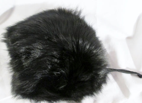 "Vintage Genuine FOX FUR Hand WARMER MUFF Winter Cold Weather 10"" Plush BLACK"