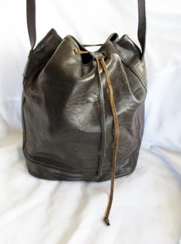 Ethnic All Leather Drawstring Hobo Duffel BAG Espresso BROWN Carryall