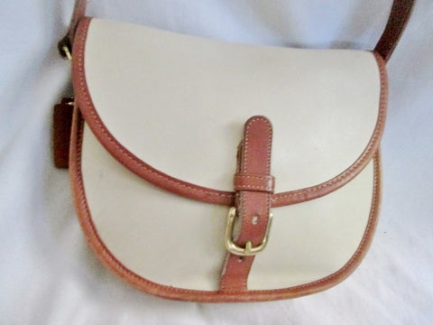 COACH 9032 PIXIE SATCHEL Leather Hobo Flap Bag Purse Cross Body WHITE BROWN M