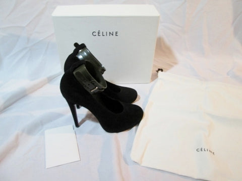 CELINE PARIS ITALY Suede LEATHER 110 Pump Shoe BLACK 37 / 6.5 Womens Strappy OLIVE