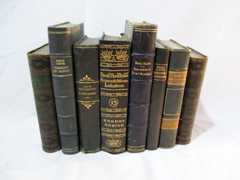 "Antique 12"" Leather Books LOT Decorative Staging BLUE NAVY GREEN Home Design Color Therapy"