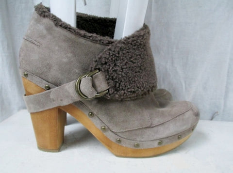 Womens NINE WEST VINTAGE KYBELE ANKLE BOOT Leather High Heel Bootie 9.5 CLOG Stud