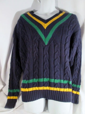 NEW NWT Mens GAP Cotton Knit V neck Ski Holiday SWEATER L Blue Green Yellow Stripe Prep