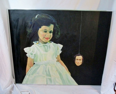 Signed Original 1976 PAINTING Creepy PORTRAIT GIRL MAN Kitsch ART BLACK 44X36