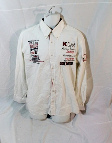 Mens MIAMI ST. BARTH MARINE TEAM YACHTING OCEAN RACING Shirt XL WHITE Button Up