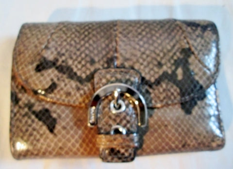 COACH Snakeskin Python Leather Bifold Change Purse Wallet Pouch BROWN Buckle