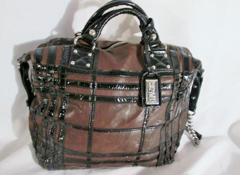 BADGLEY MISCHKA Patent Leather Bag Shoulder Bag TOTE BROWN BLACK Plaid Stripe