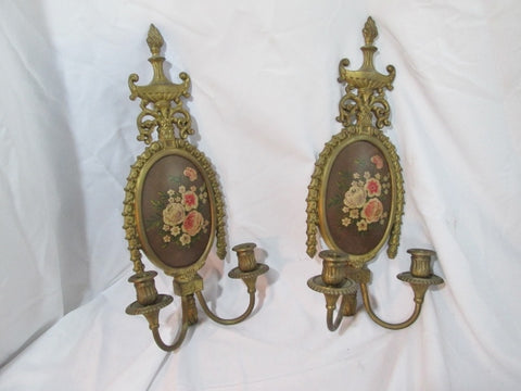Set Vintage ORIENTAL ACCENT BRASS Candle LAMP Light Sconce Primitive FLORAL Rustic