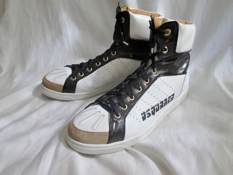 Mens DSQUARED2 ITALY CANADA LEAF Hi-Top Basketball Sneaker Trainer WHITE 46  13
