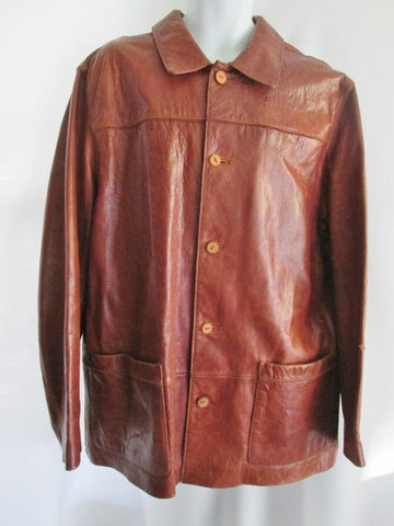 EUC MENS M. JULIAN Genuine Pebbled Leather jacket trench coat parka BROWN XL