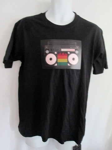 Adult ONEUPTShirt.com Sound Activated BOOM BOX Radio Short Sleeve T-Shirt XL BLACK