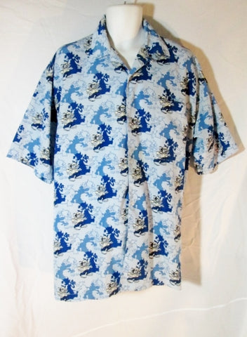 Mens COLLECTION RAWBLUE RAW BLUE Hawaiian Shirt XL Button-Up MOUSE Hip Hop
