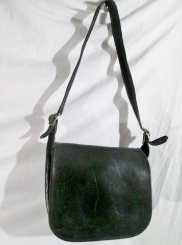 Vintage COACH 3625 Leather Saddle Crossbody Shoulder Flap Hobo Bag BLACK Purse