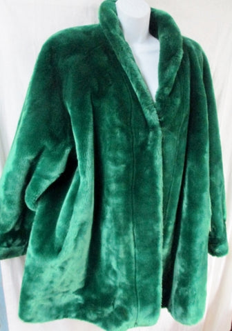 NWT NEW Womens JEAN LOUIS DE PARIS FRANCE Faux Fur Coat Jacket GREEN S Eco-Friendly