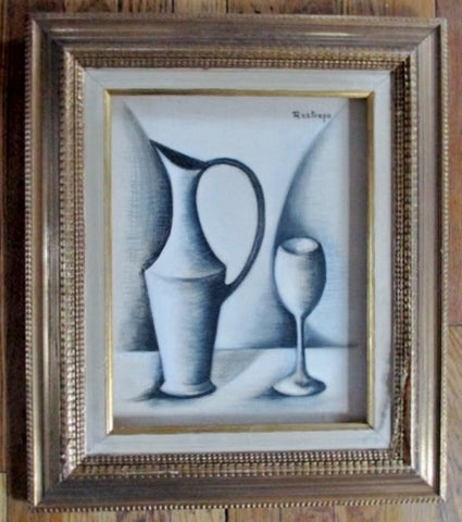 Vintage Signed RESTREPO Original PAINTING ART Still Life Jug Vase BLACK WHITE