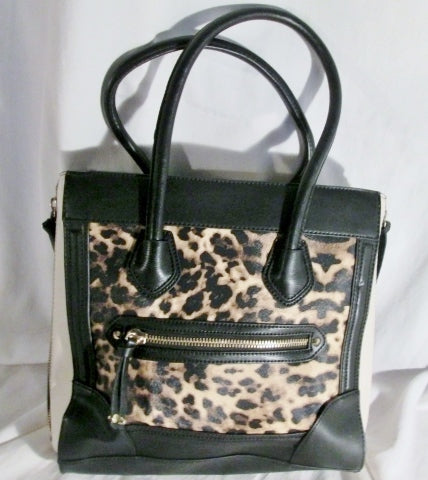 ALDO Vegan Faux Leather Satchel TOTE Bag Shoulder Bag Carryall  LEOPARD BLACK WHITE