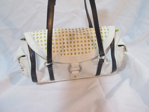 BILLY BAG Leather Shoulder Hobo Bag Satchel Purse WHITE YELLOW Woven