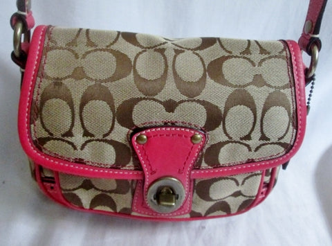 COACH 10569 Legacy Signature Cricket Field Bag Jacquard Hobo Bag BROWN PINK BEIGE