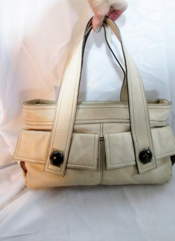 KOOBA Leather TOTE Bag SHOPPER CREME ECRU BEIGE Pockets Satchel Purse Carryall