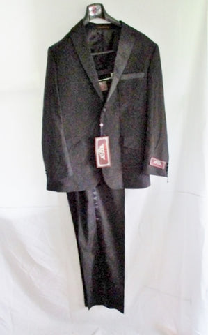NEW HOUSE OF ST. BENETS Tuxedo Sport Jacket Blazer Suit Pant 44L 38W BLACK Formal Wedding