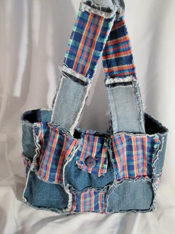 Reversible PATCHWORK PLAID Jean Denim Sling Hobo Shoulder Bag BLUE Tote Boho Distressed