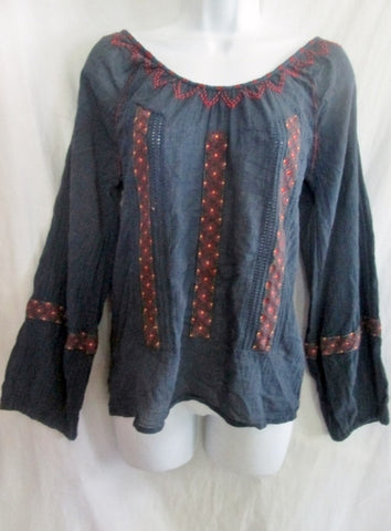 WOMENS JOIE Cotton Peasant Shirt Top S BLUE Embroidered Hippie Festival India