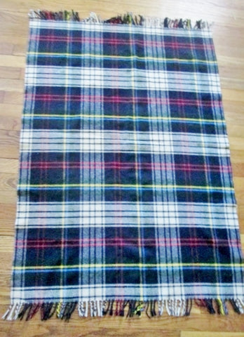 BLOOMINGDALE'S BABY SHOP ENGLAND 100% Wool Blanket Throw PLAID TARTAN 50X35