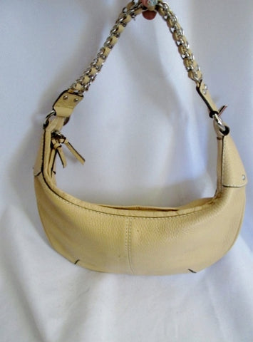 HYPE pebbled leather hobo banana shoulder bag satchel BEIGE BOHO Chainlink clutch