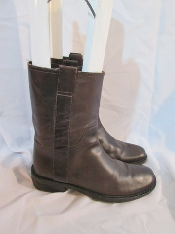 KENNETH COLE REACTION Leather ANKLE BOOT Booties 7 BROWN Moto Shoe